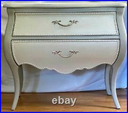 Hooker Furniture 2 Drawers Bombe Chest in Gray and Cream with Decorative Studs