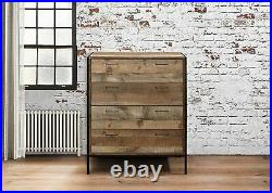 House Additions 4 Drawer Chest Wood Rustic Industrial Brown Black 84 x 100 cm