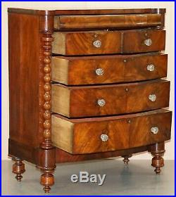 Huge Victorian Flamed Mahogany Scottish Chest Of Drawers Massive Storage Space