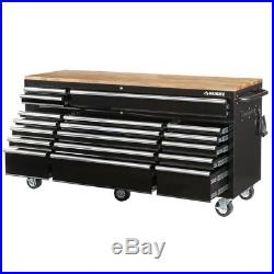 Husky 18-Drawer Mobile Workbench Tool Box Chest Parts Storage Wood Top Black New