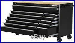 Husky 66x24 in 12-Drawer Tool Chest Mobile Workbench with Solid Wood Top Black