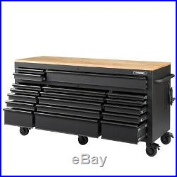 Husky Tool Chest Box 18-Drawer Mobile Workbench Cabinet Adjustable Wood Top New