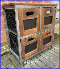 Industrial Vintage Retro Style Side Table Cabinet Drawers Iron & Wood H 66cm
