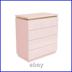 Isabella Pink Gloss 5 Drawer Chest of Drawers with Gold Trim ISB002