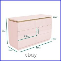 Isabella Pink Gloss 6 Drawer Wide Chest of Drawers with Gold Trim ISB003