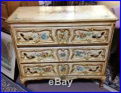 Italian Venetian Rococo Polychrome Painted Dresser Commode Chest of Drawers