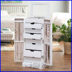 Jewelry Armoire Standing White Cabinet Chest Drawers Storage Mirror Organizer