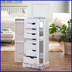 Jewelry Armoire Standing White Cabinet Chest Drawers Storage Mirror Organizer
