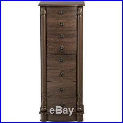 Jewelry Cabinet Chest Armoire Box Large Stand Organizer with 7 Drawers & Mirror