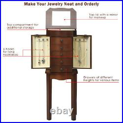 Jewelry Cabinet withDrawers&Mirror Armoire Storage Stand Chest Organizer Christmas