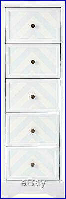 Kings Brand Furniture Wood 5 Drawer Tall Accent Storage Cabinet, Wash White