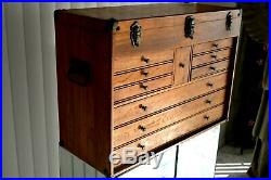 LARGE VINTAGE WOODEN Oak ANTIQUE 10 DRAWER MACHINIST WOOD TOOL BOX CHEST