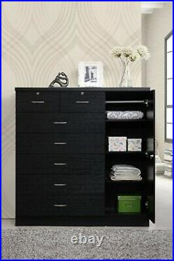 Large Bedroom Dresser Tall 7 Drawer Chest of Drawers Black Wood Clothes Cabinet