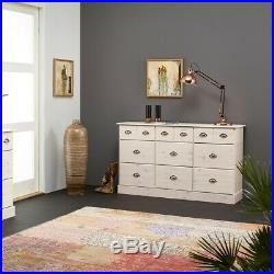 Large Chest of Drawers White Sideboard Storage Unit 9 Drawer Chest Cabinet