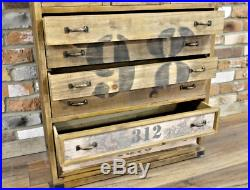 Large Industrial vintage rustic wood cupboard cabinet chest drawers storage