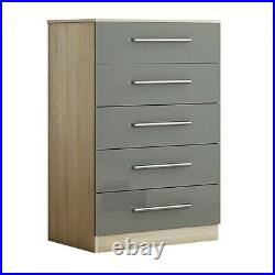 Large Oak/ Grey Gloss 5 Drawer Chest of Drawers Modern Bedroom Furniture