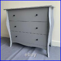 Large Shabby Chic Retro Chest of 3 Drawers Cabinet Hallway Bedroom Furniture