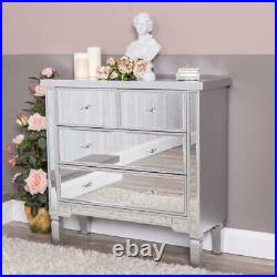 Large Silver Chest of Drawers Mirrored Glass Unit Hallway Cabinet Bedroom Home