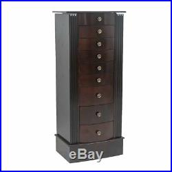 Large Standing Jewelry Armoire Storage Chest Stand with 8 Drawers Wood Walnut US