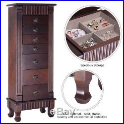 Large Wood Floor Jewelry Cabinet Storage Organizer Wooden Box 7 Drawers Chest