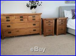 Large solid oak chest of drawers x2 bedside tables