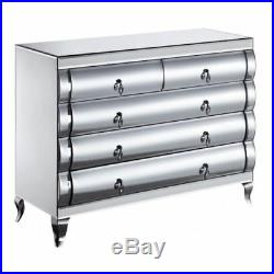 Large venetian chest of mirrored drawers with curved front mirror drawers 5 UK