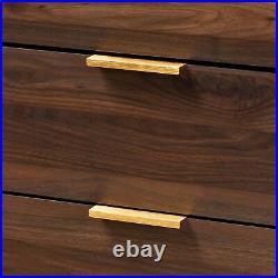 Lena Mid-Century Modern Walnut-Finished Wood 5-Drawer Dresser Storage Chest