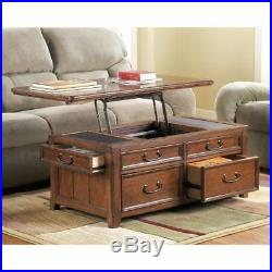 Lift Top Coffee Storage Table with Drawers Mid Century Modern Sofa Accent Chest