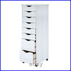 Lingerie Storage Dresser 8 Drawer Cart Tall Narrow Chest Wheels Solid Wood New