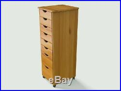 Lingerie Storage Dresser 8 Drawer Cart Tall Narrow Chest With Wheels Solid Wood
