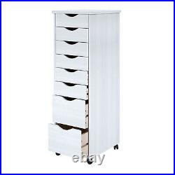 Lingerie Storage Dresser 8 Drawer Craft Cart Tall White Chest Mobile Solid Wood