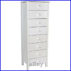 Lingerie Storage Dresser 8 Drawer Narrow Chest Furniture Tall Space Saver White