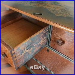 Locking, Antique, Dresser, Rustic, Green, Farmhouse, Furniture, Chest Of Drawers