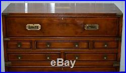 Lovely Burr Yew Wood Military Campaign Chest Of Drawers Built In Drop Front Desk