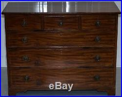 Lovely Circa 1800 Georgian Mahogany Chest Of Drawers Three Over Three Formation