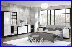 Lynx 6 Drawer Chest Sideboard Gloss Black Grey White Walnut Drawers Cabinet
