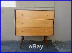 MID Century Modern Paul Mccobb 3 Drawer Chest On 3 Foot Stand