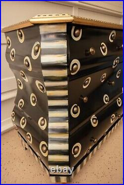 MacKenzie Childs Courtly Check, Dot & Stripe Large Chest of Drawers, Dresser