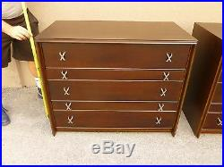 Match Pair Paul Frankl X Drawer Pull Bachelor Chests Johnson Furniture @ 1950