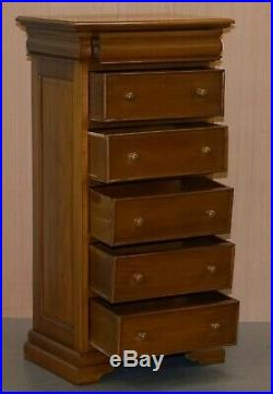 Matching Pair Of 130cm Tall Light Mahogany Tallboy Chests Of Drawers Part Suite