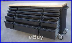 Mechanic Black Covered Steel Tool Chest with Wood Top Workbench Trolley Cabinet