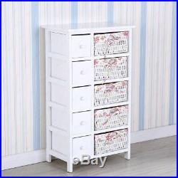 Mecor Bedroom Storage Dresser Chest 5 Drawers with Wicker Baskets Cabinet Wood