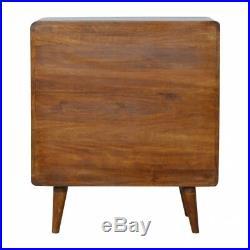 Mid Century Curved Dark Mango Wood Chest Of 3 Drawers Scandi Style Handmade