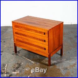 Mid Century Danish Modern Dresser Chest Drawers Solid Teak 3 Drawer Denmark Low