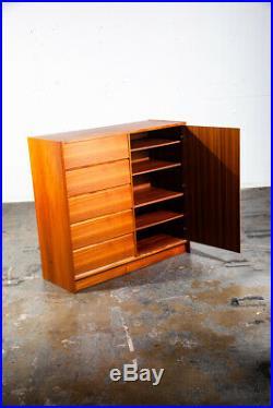 Mid Century Danish Modern Dresser Teak Gentlemans Chest Drawers Denmark Vintage