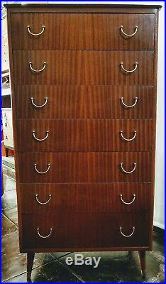Mid-Century Danish Modern G-Plan Tola Wood Seven Drawer Dresser / Chest