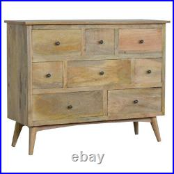 Mid Century Eight Drawer Scandinavian Style Chest of Drawers Solid Wood