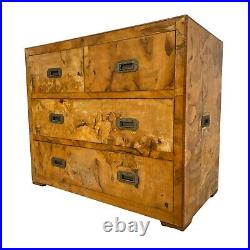 Mid Century Italian Olive Wood Patch Burl Campaign Chest of Drawers