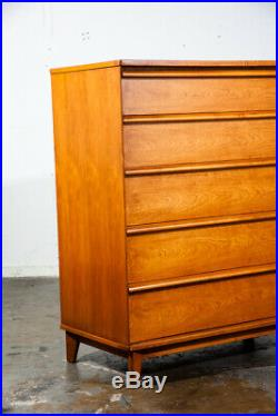 Mid Century Modern Dresser Highboy Chest of Drawers 5 Drawers Cherry Denmark MCM