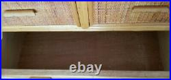 Mid century rattan chest of drawers, vintage bamboo dresser, bohemian, boho